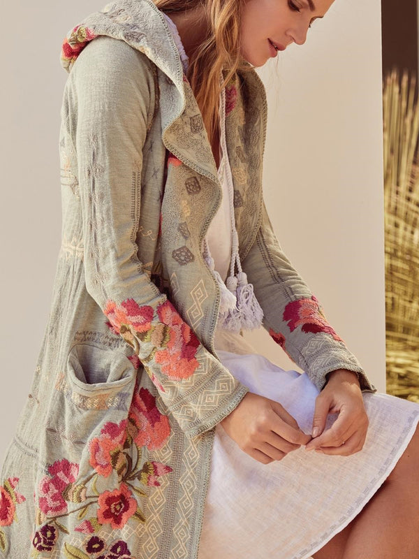 Cotton-Blend Boho Long Sleeve Outerwear