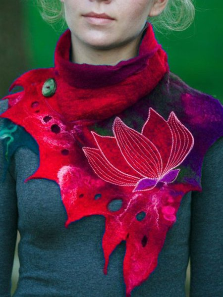 Casual Cotton-Blend Color-Block Scarves & Shawls