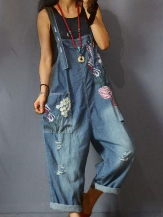 Denim Blue Denim Sleeveless Floral Shift Pants