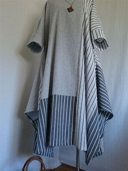 Summer Autumn Casual Cotton Grey Large Size Dress