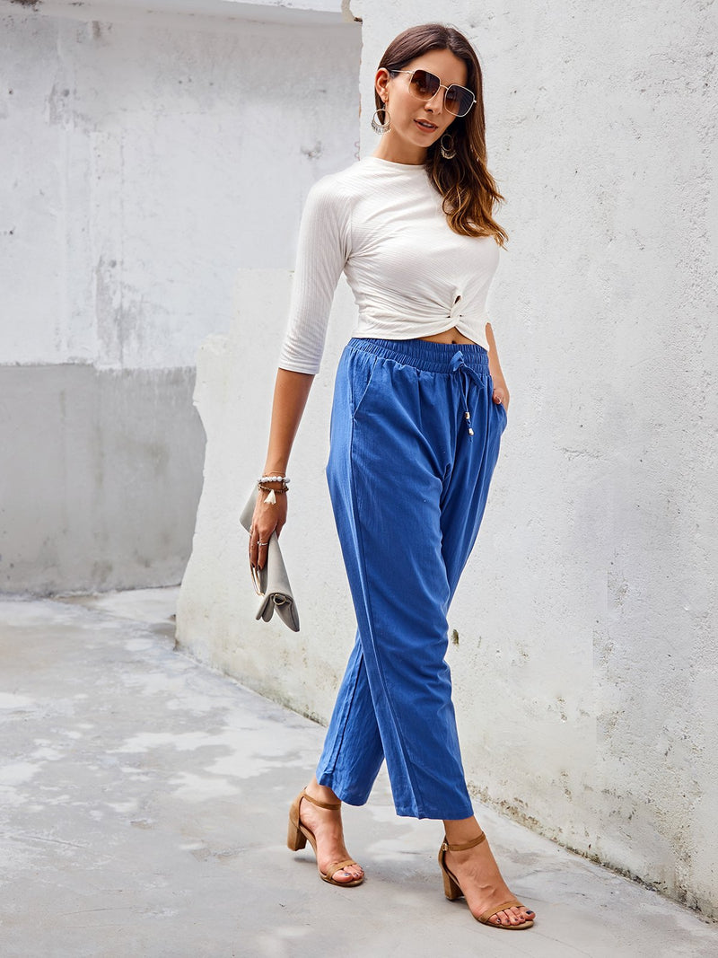 Solid Cotton Pants