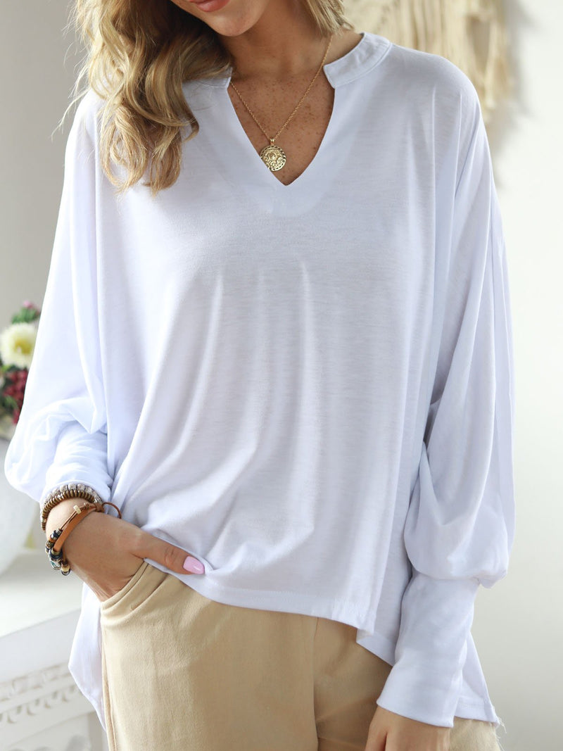 Casual Long Sleeve V Neck Cotton-Blend Blouse