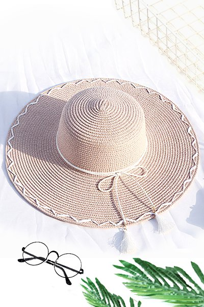 Summer Lace-up Embellished Round Top Sunshade Straw Hat