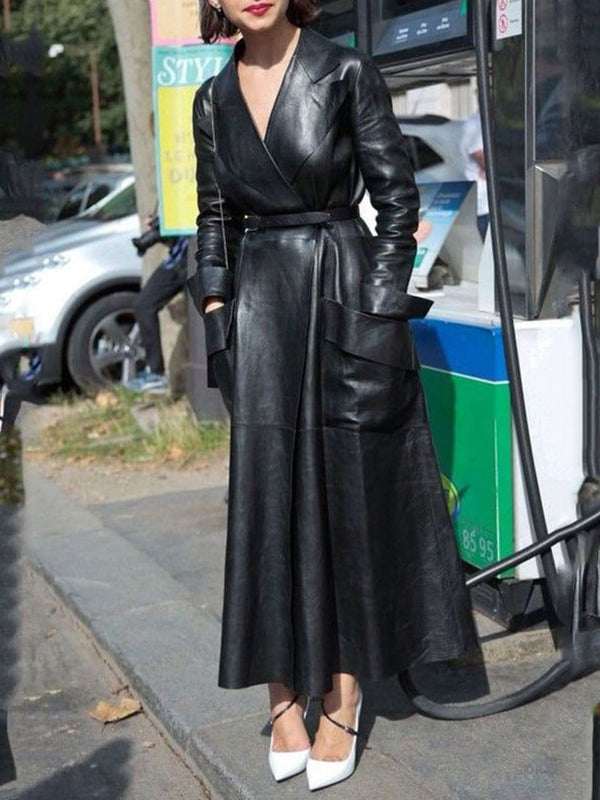 Black Solid Shift Faux Leather Vintage Outerwear With Belt