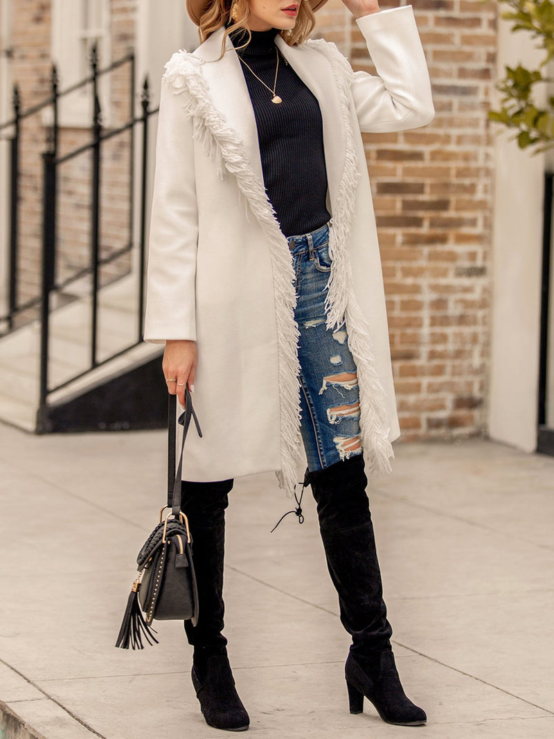 Women Casual Fringed Plain Outerwear