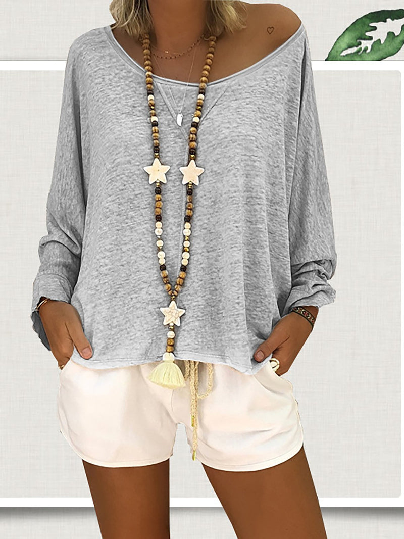 Solid Casual Long Sleeve Plus Size Blouse