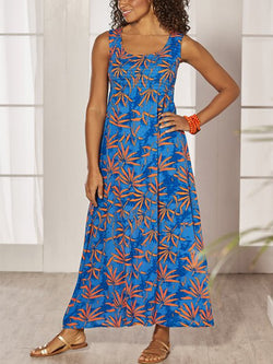 Casual Sleeveless Round Neck Plus Size Floral Maxi Dress