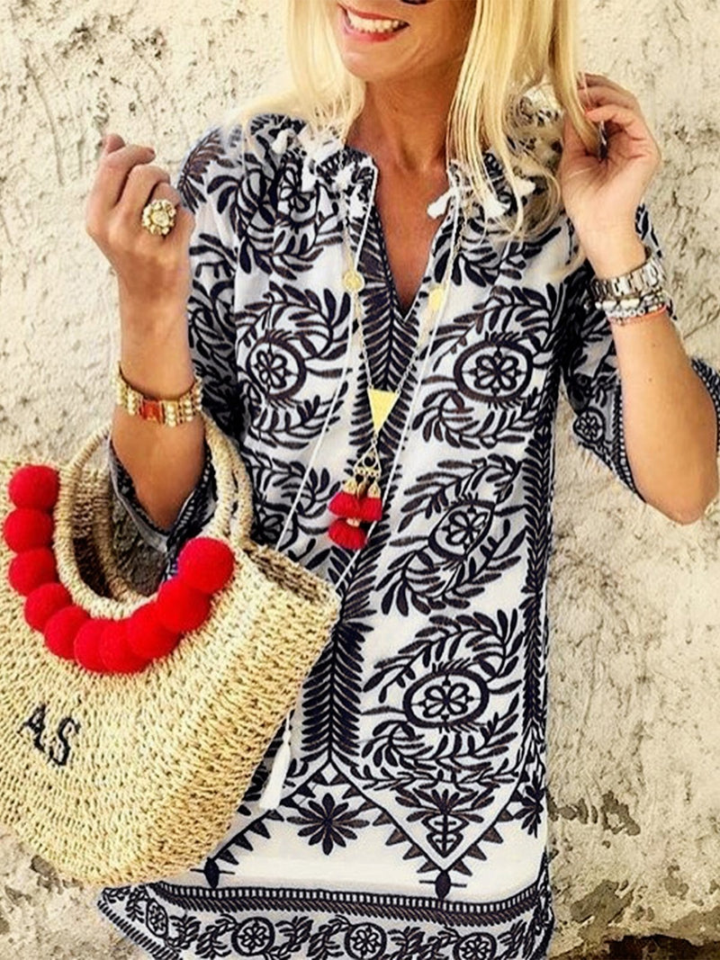 Half Sleeves Boho Casual Shift Dresses