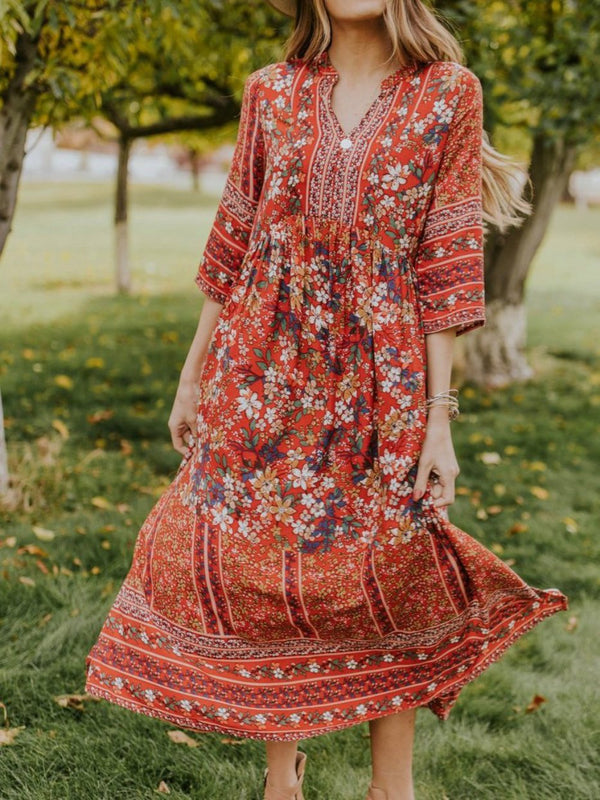 Midi Dresses Red Floral Half Sleeve V Neck Shift Cotton-Blend Boho Beach Casual
