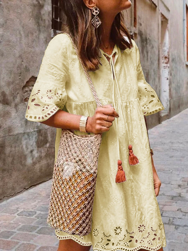 Bohemian holiday cotton dress