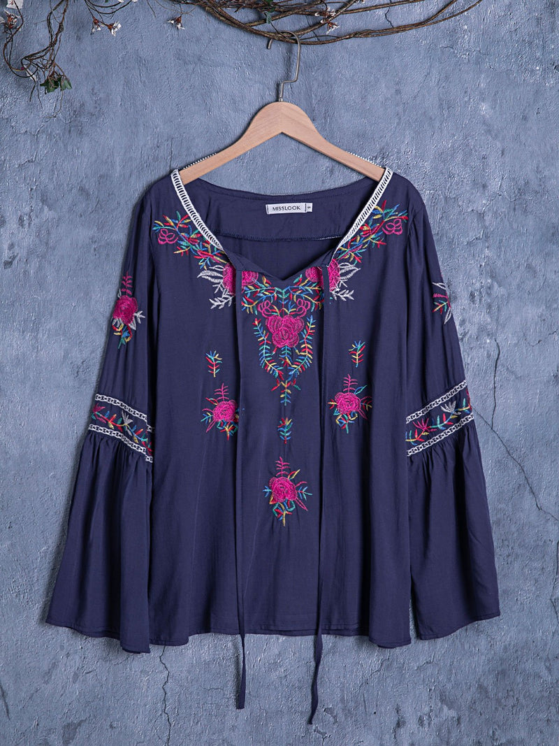 Women Casual Loose Printed Bohemian Butterfly Top Blouse