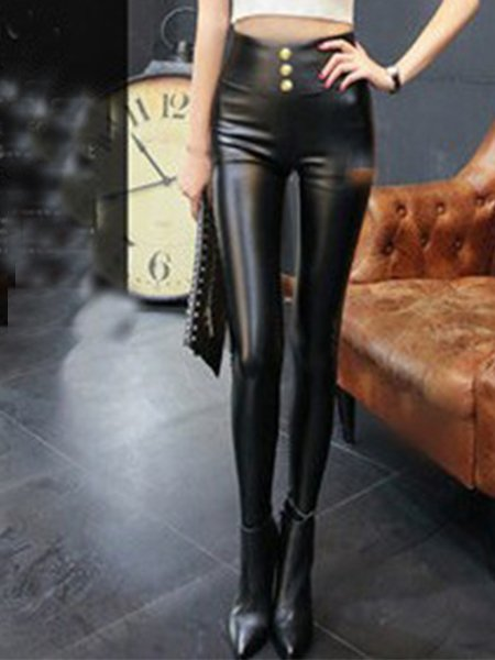Warm Keep Faux Leather Leggings
