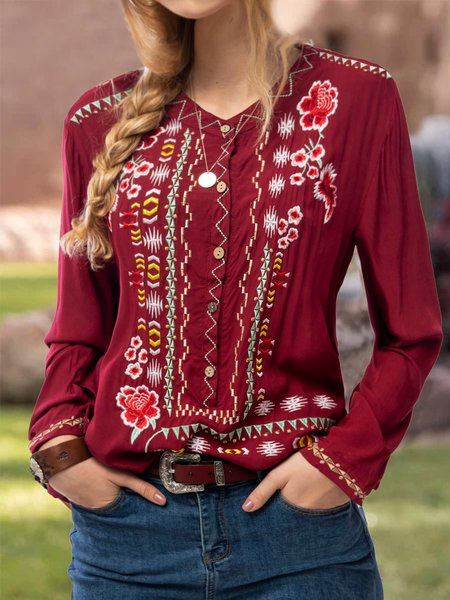 Red Long Sleeve Cotton-Blend Embroidery Round Neck Shirts & Tops