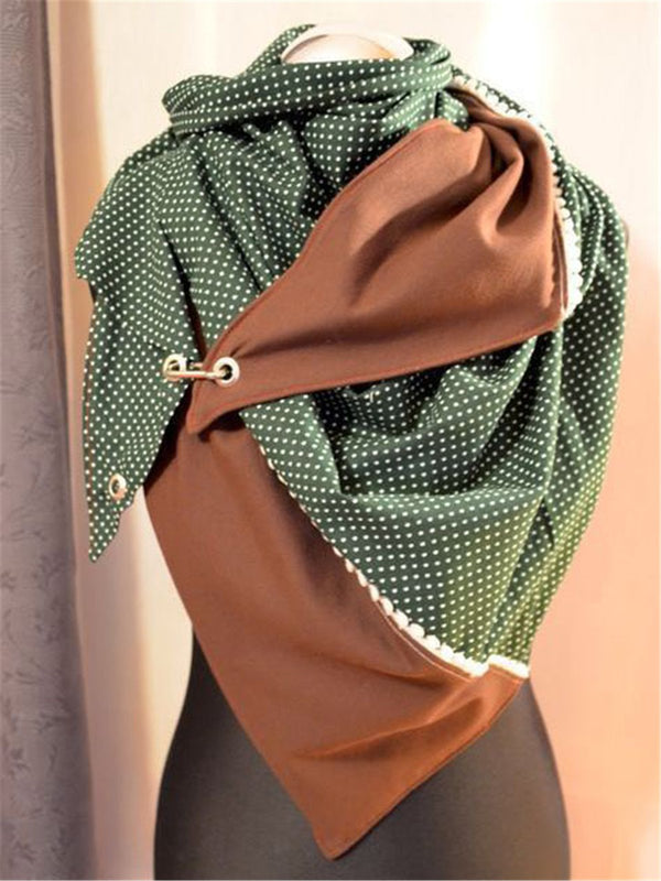 Green Casual Cotton Polka Dots Scarves & Shawls