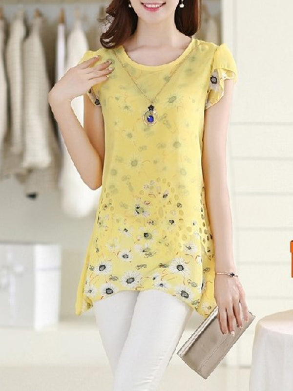 Short Sleeve Crew Neck Chiffon Printed Casual  Blouse