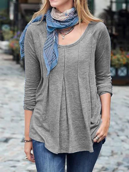 Cotton-Blend Shirred Long Sleeve Round Neck Shirts & Tops