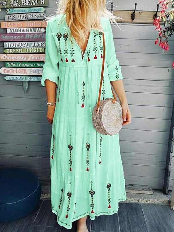 Maxi Dresses V Neck Long Sleeve Floral Embroidered Fringed White Casual Holiday Boho
