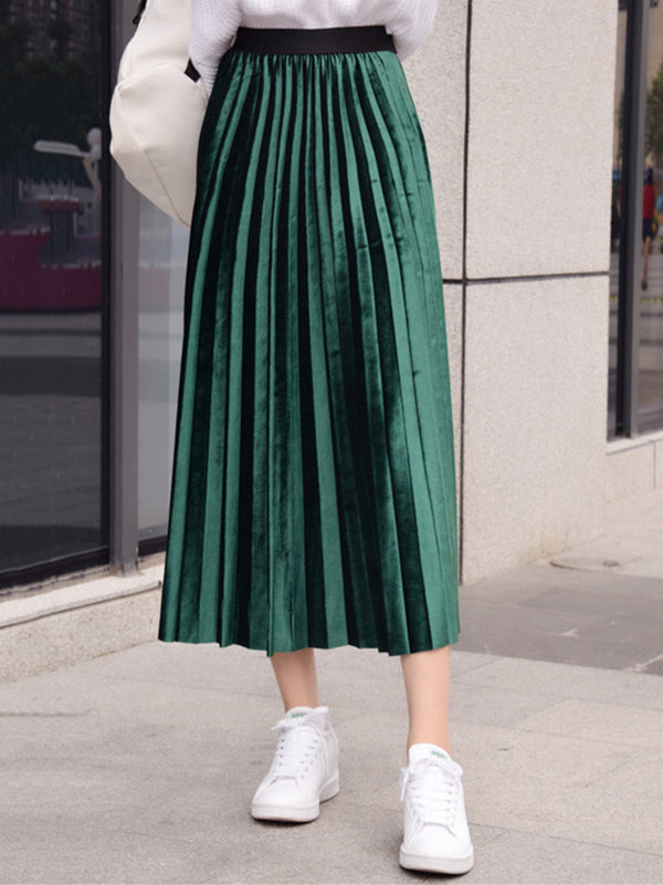 Fashion Multi Color Pleated Swing Solid Velvet Casual Skirt