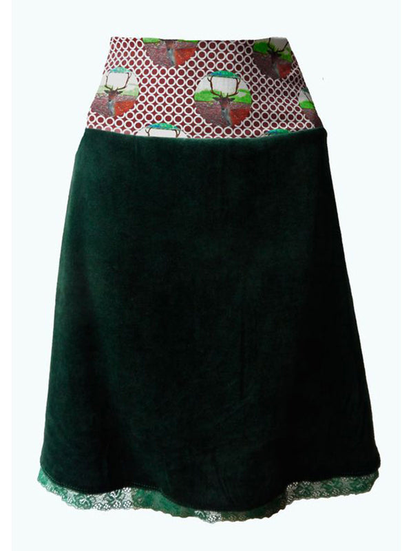 Deep Green A-Line Casual Polka Dots Skirts