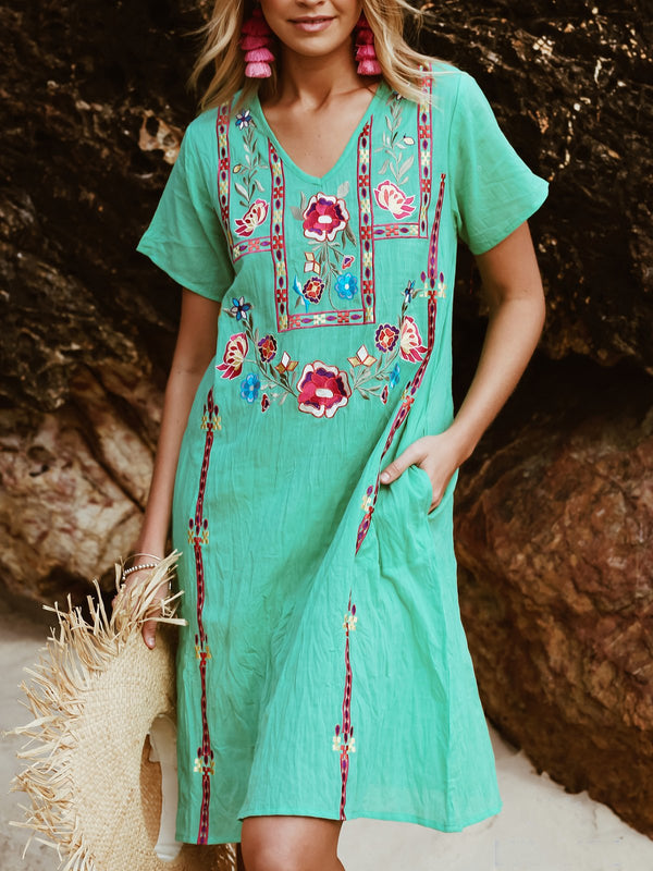 Midi Dresses V Neck Short Sleeve Floral Embroidered Shift Casual Blue Boho Holiday