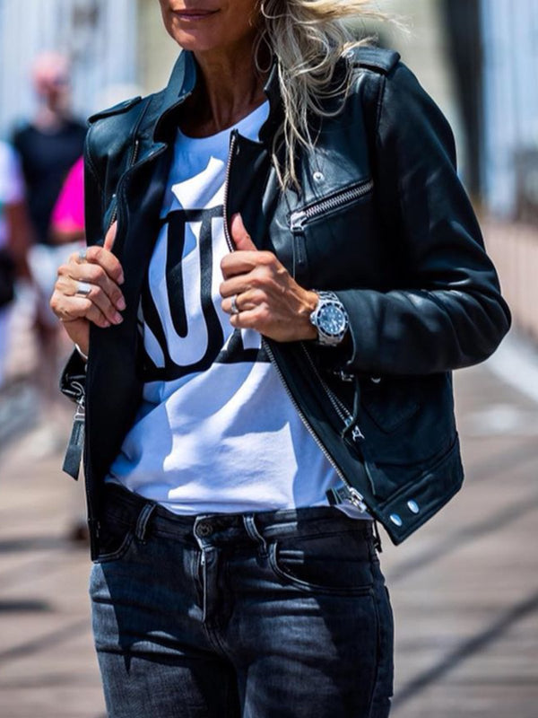 Casual Outerwear Faux leather Jacket Top Tunic