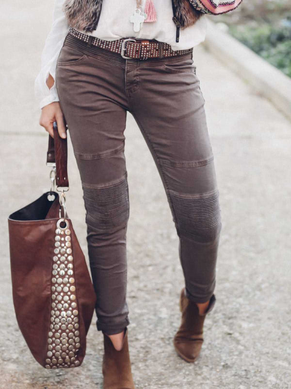 Red Brown Casual Plain Cotton-Blend Pants