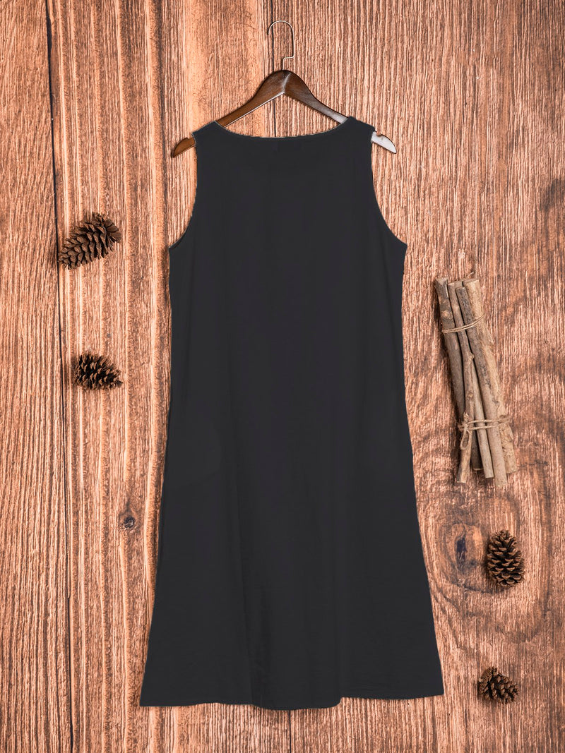 Plus Size Casual Solid Round Neck Sleeveless Pockets Dresses