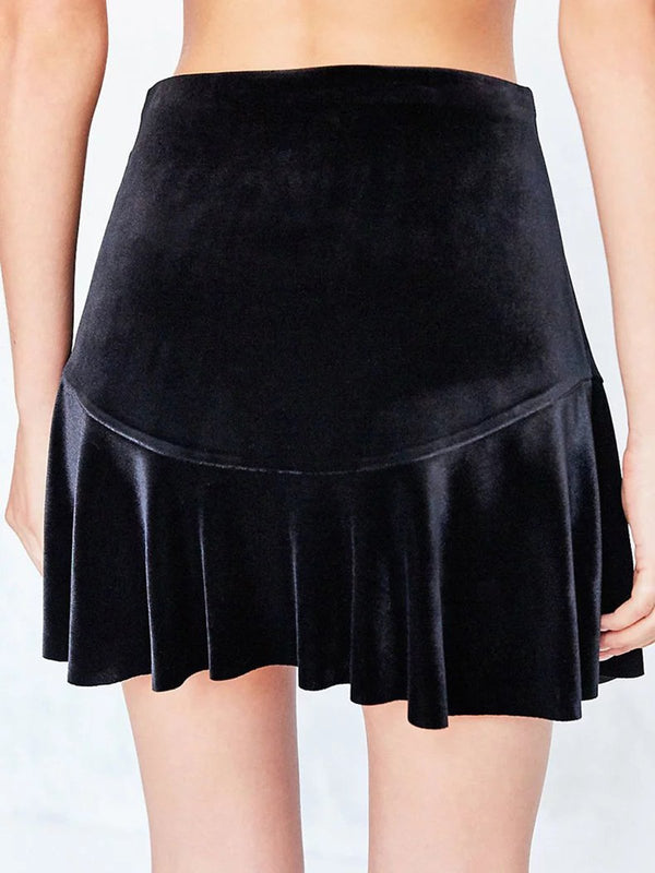 Black Solid Velvet Flounce Girly Mini Skirt