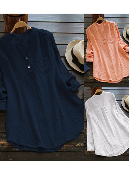 Pockets Long Sleeve Stand Collar Shirts & Tops