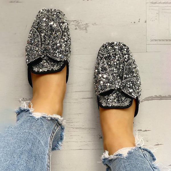 Sequins Embellished Bowknot Flat Sandals