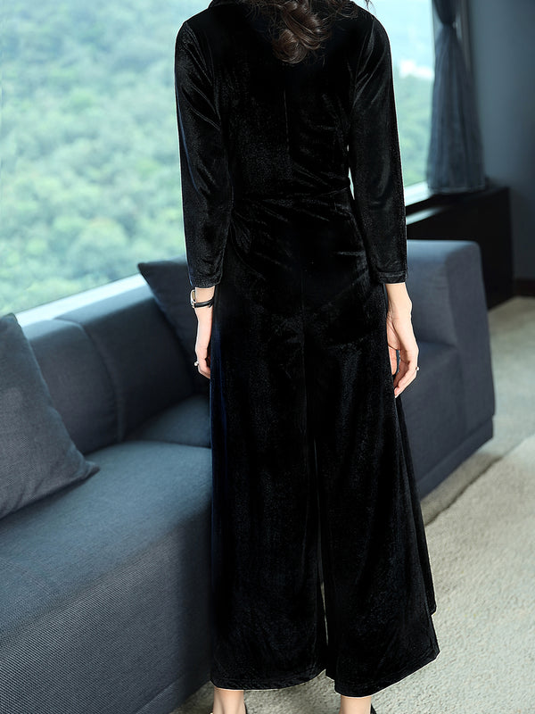 Long Sleeve Wrap Elegant Velvet Jumpsuit