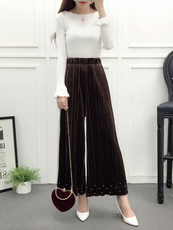 Solid Beaded Casual Velvet Wide Leg Pants
