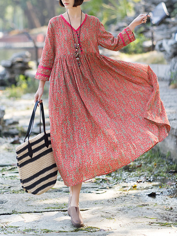 V Neck 3/4 Sleeve Polka Dots Cotton Dresses