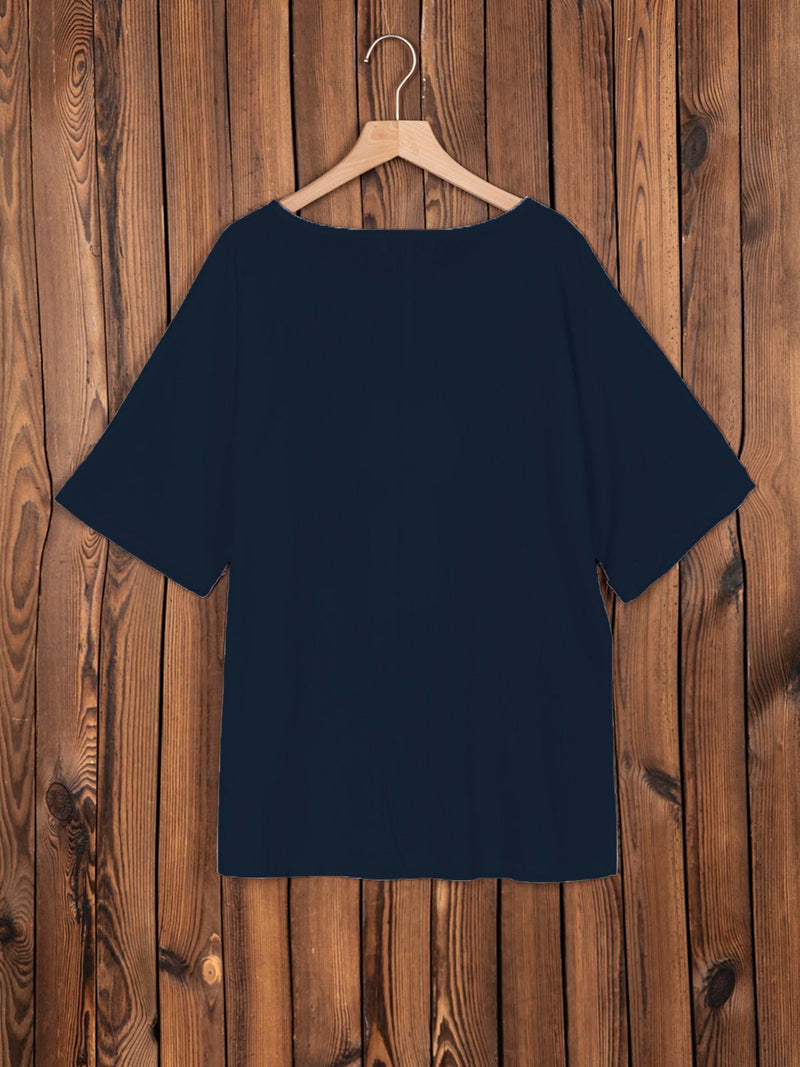 Short Sleeve Cotton-Blend Round Neck Sweet Shirts & Tops