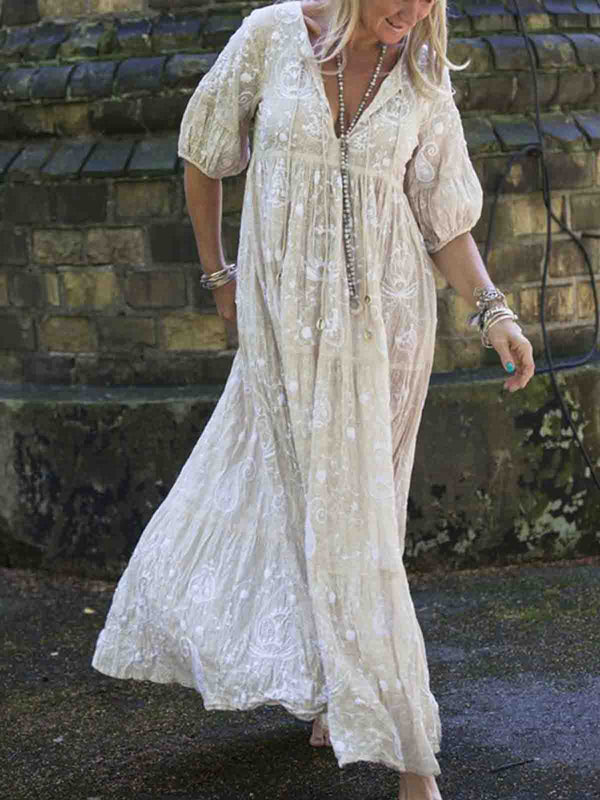 Maxi Dresses Plus Size White Floral Embroidered V Neck Short Sleeve Shift Casual Holiday Beach