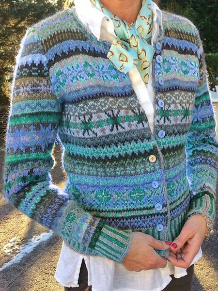 Printed Long Sleeve Casual Outerwear