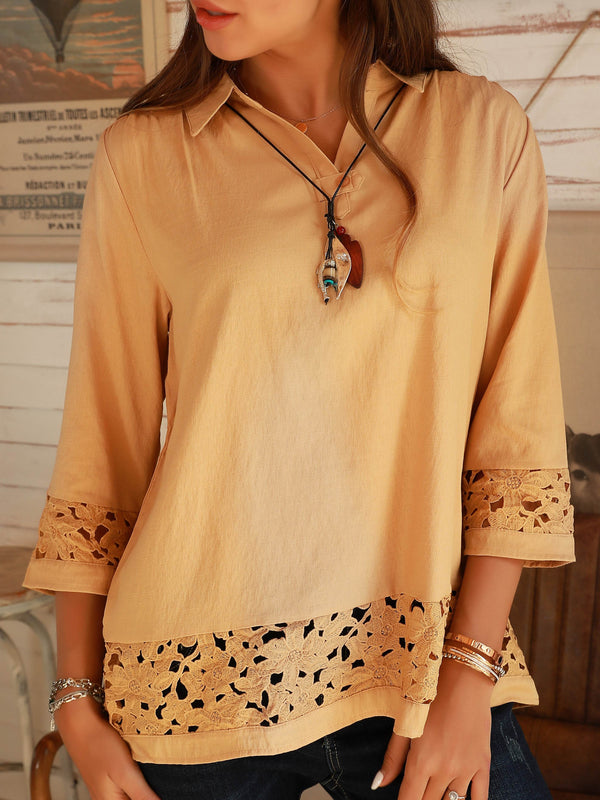 Deep Apricot Cotton Holiday Shirt Collar Shirts & Tops