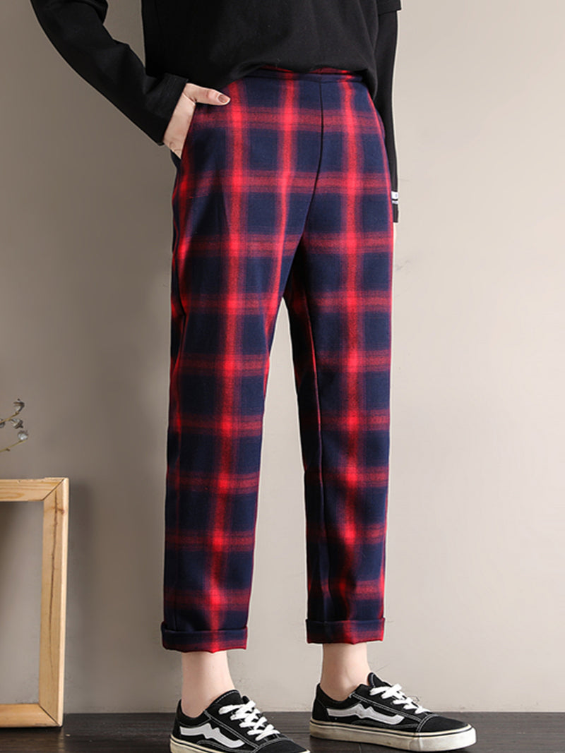 Plus size Casual Checkered/plaid Pants