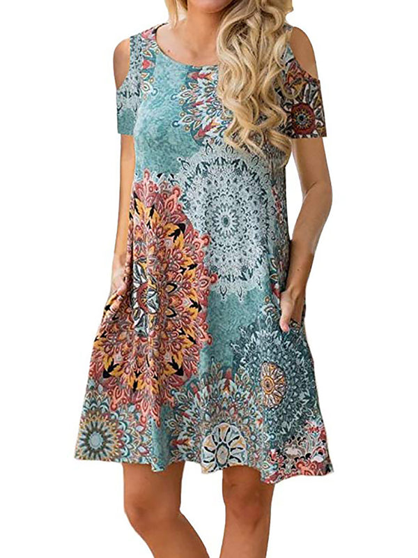 Swing Women Daily Short Sleeve Floral-print Floral Summer Dress