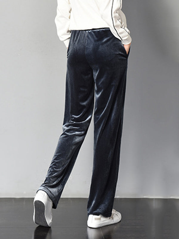 Fall Winter Pockets Velvet Casual Pants