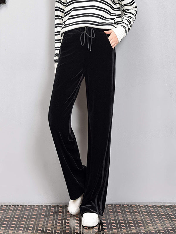 Women's Casual Loose Wide Leg Velvet Waist Pants