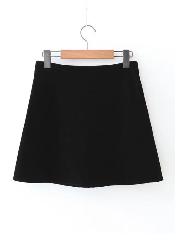 Black Floral Embroidered Velvet Skirt