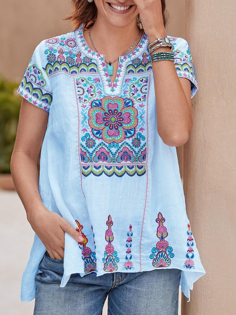 V Neck Short Sleeve Casual Shirts & Tops