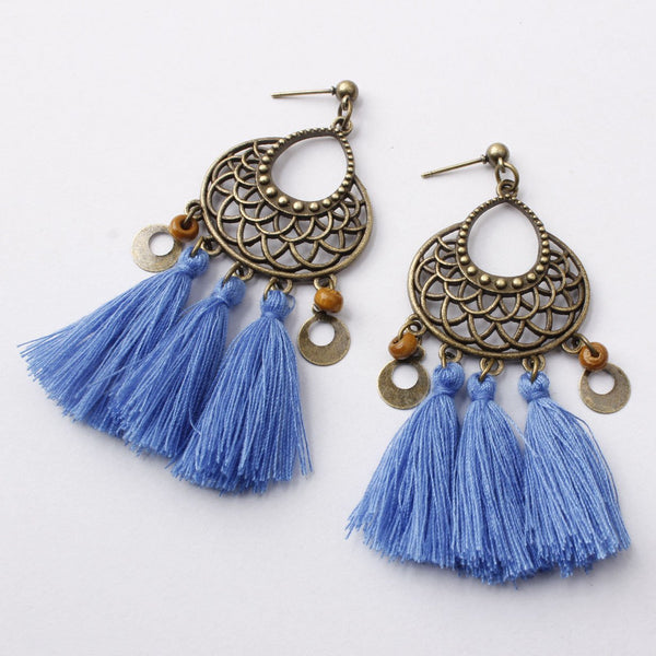 Vintage Hollow Alloy Flower Earrings