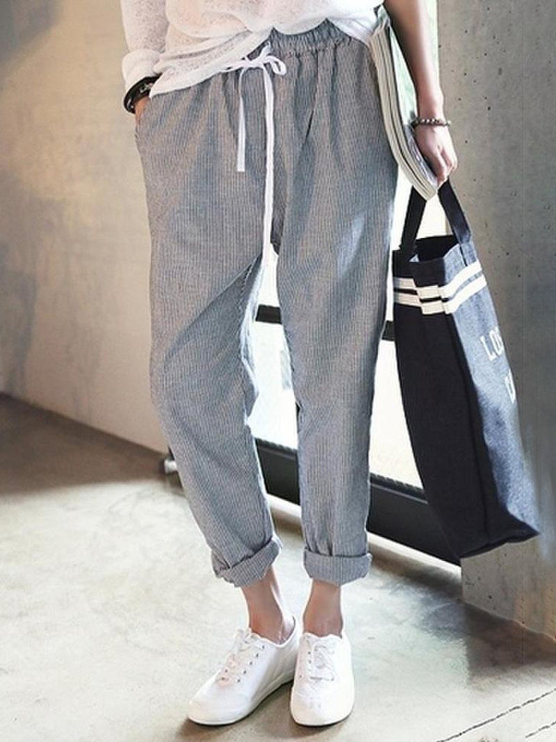 All Season Natural Casual Linen Stripes Pants