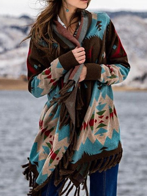 Women Multicolor Boho Color-Block Patchwork Cotton-Blend Outerwear