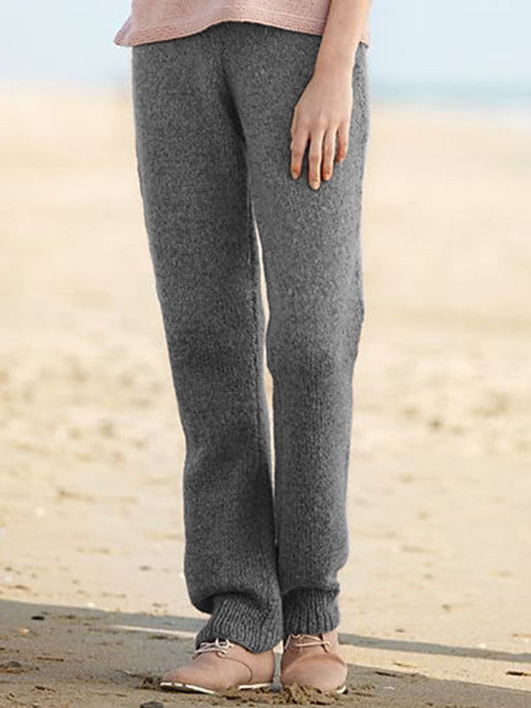 Women Solid Casual Warm Knitted Pants