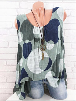 Casual Sleeveless Printed Polka Dots Plus Size Tank
