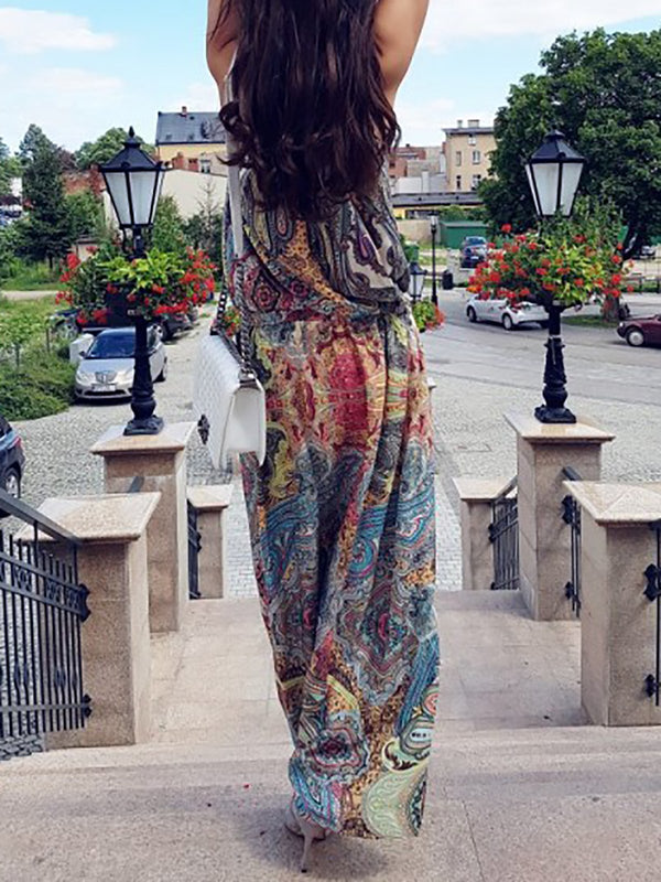 Halter Blue Swing Women Daily Linen Boho Printed Floral Dress