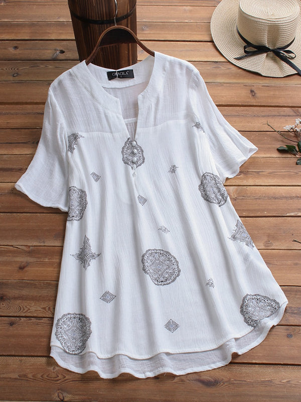 Bohemian Print Short Sleeve V Neck Button Blouse